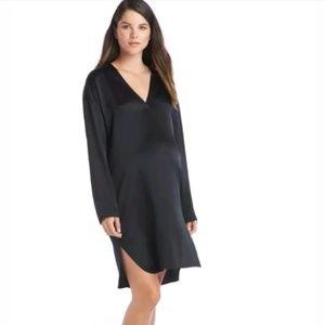 Vince Long-Sleeve Silk Tunic Dress Black size Over